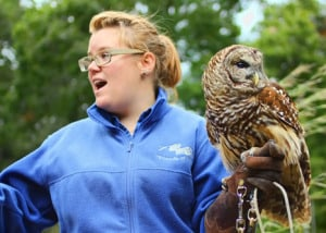 LBL worker showing the crowd the Nature Station's 30 year old owl