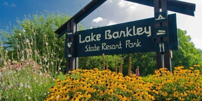 Lake Barkley Sign Greeting visitors at Park Entrance