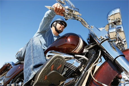 Weekend Harley Rider with Skull Cap